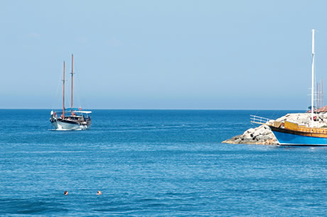 Sailing boats on the mediterranean sea in antalya photo