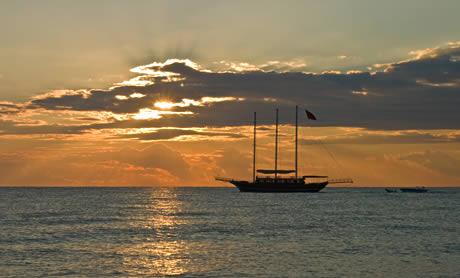 Yacht and the sunrise in kemer antalya photo